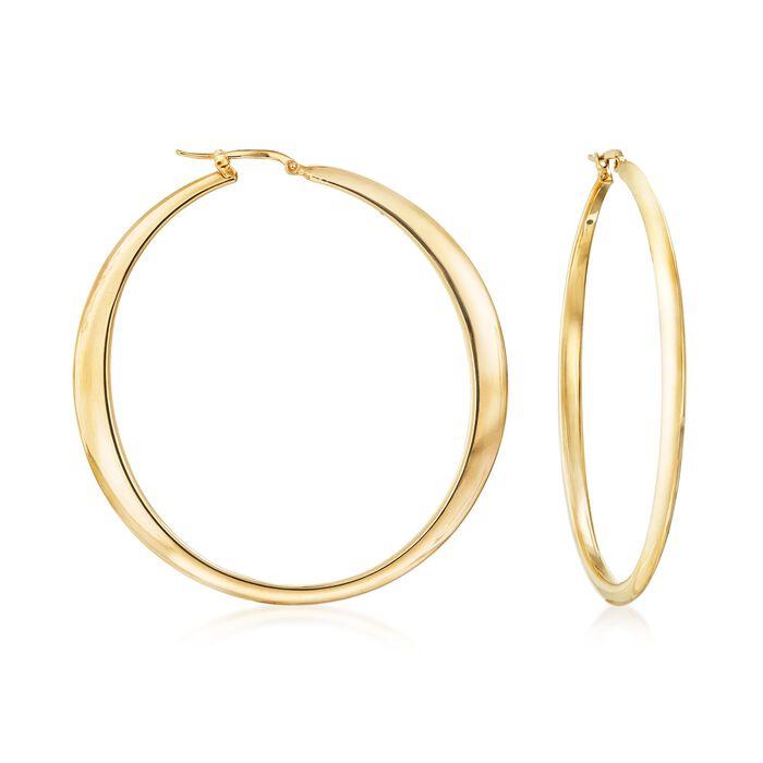 """Italian 18kt Yellow Gold Large Hoop Earrings. 2 3/8"""""""