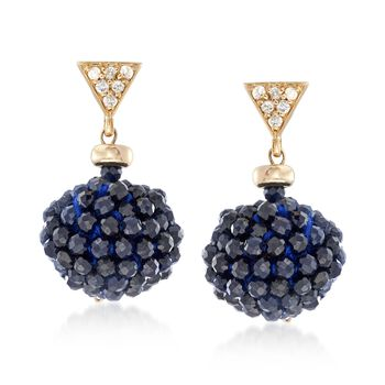20.00 ct. t.w. Sapphire Bead and .12 ct. t.w. Diamond Cluster Earrings in 14kt Yellow Gold , , default