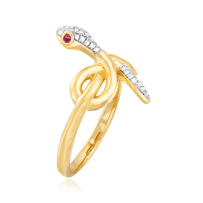 .10 ct. t.w. Diamond Infinity Snake Ring in 18kt Gold Over Sterling