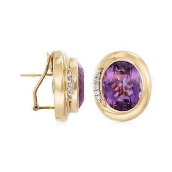 C. 1980 Vintage 28.30 ct. t.w. Amethyst and .25 ct. t.w. Diamond Earrings in 14kt Yellow Gold, , default