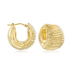 Andiamo 14kt Yellow Gold Textured and Polished Hoop Earrings, , default
