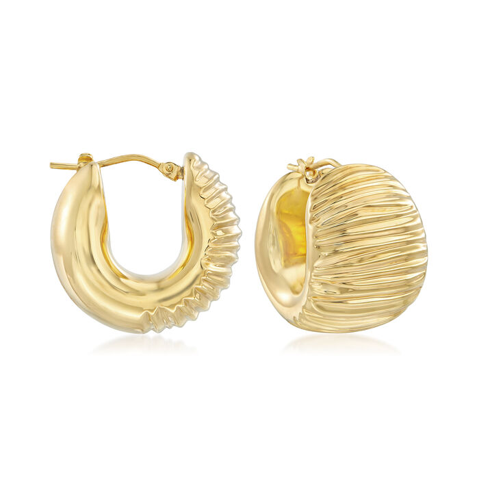 """Andiamo 14kt Yellow Gold Textured and Polished Hoop Earrings. 3/4"""", , default"""