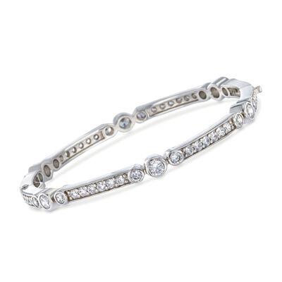 """Belle Etoile """"Coronet"""" 4.50 ct. t.w. CZ Bangle Bracelet in Sterling Silver"""