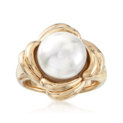 11.5-12mm Cultured Pearl Scalloped Ring in 14kt Yellow Gold, , default