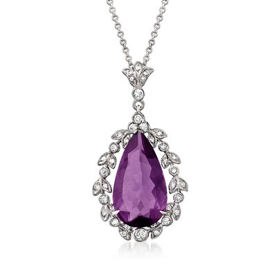 C. 2000 Vintage 4.25 Carat Amethyst and .35 ct. t.w. Diamond Pendant Necklace in 18kt and 14kt White Gold