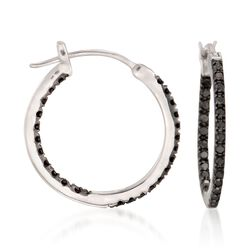 ".29 ct. t.w. Black Diamond Inside-Outside Hoop Earrings in Sterling Silver. 5/8"", , default"