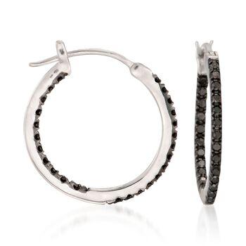 """.29 ct. t.w. Black Diamond Inside-Outside Hoop Earrings in Sterling Silver. 5/8"""", , default"""