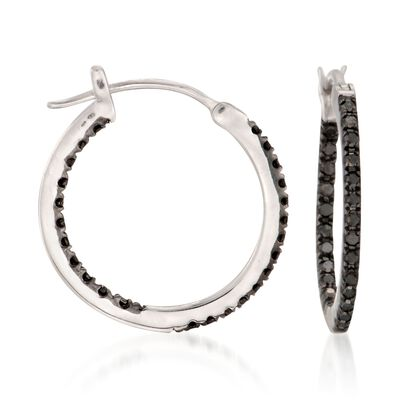 .29 ct. t.w. Black Diamond Inside-Outside Hoop Earrings in Sterling Silver, , default
