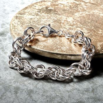 Italian Sterling Silver Rolo Link Chain Bracelet, , default