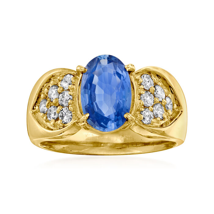 C. 1980 Vintage 2.00 Carat Sapphire and .40 ct. t.w. Diamond Ring in 18kt Yellow Gold