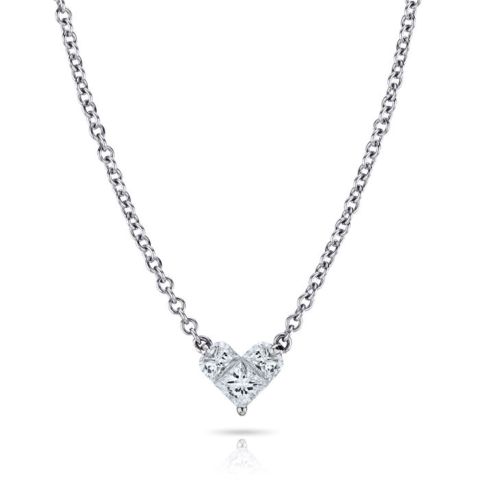 ".72 ct. t.w. Diamond Heart Pendant Necklace in 18kt White Gold. 18"", , default"