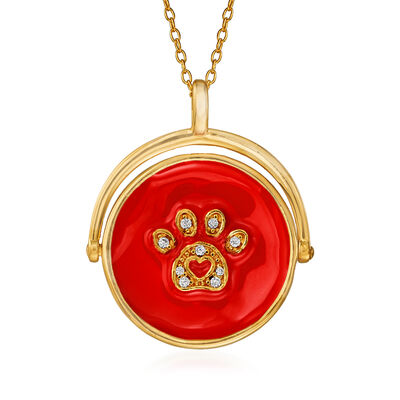 Red Enamel Paw Print Pendant Necklace with CZ Accents in 18kt Gold Over Sterling Silver, , default