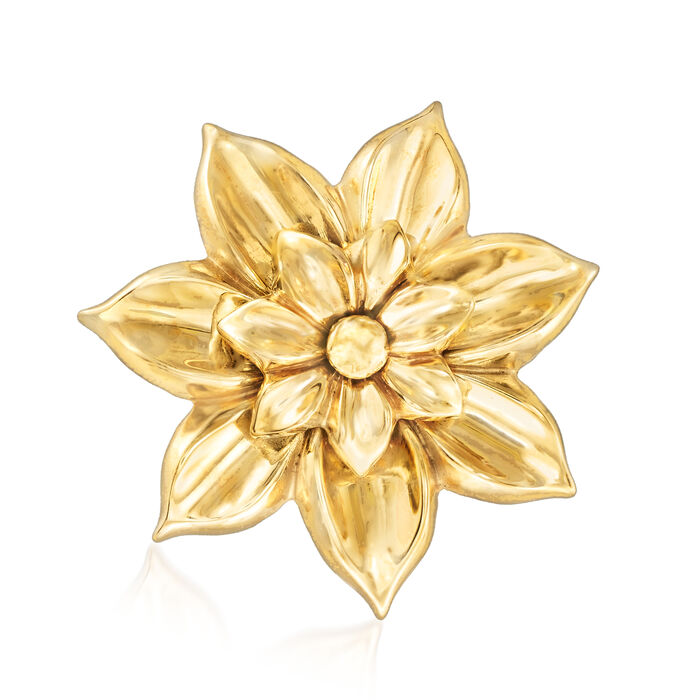 Italian 18kt Yellow Gold Flower Pin, , default
