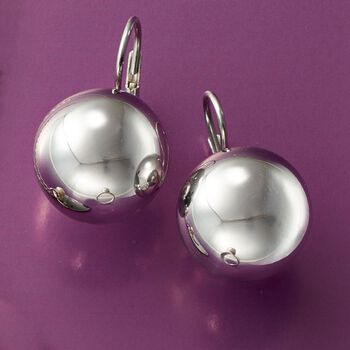 Italian 16mm Sterling Silver Bead Drop Earrings, , default