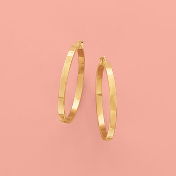 Italian 14kt Yellow Gold Squared-Edge Hoop Earrings. 1 1/2""