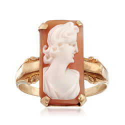 C. 1920 Vintage Rectangular Shell Cameo Ring in 10kt Yellow Gold. Size 7.5, , default