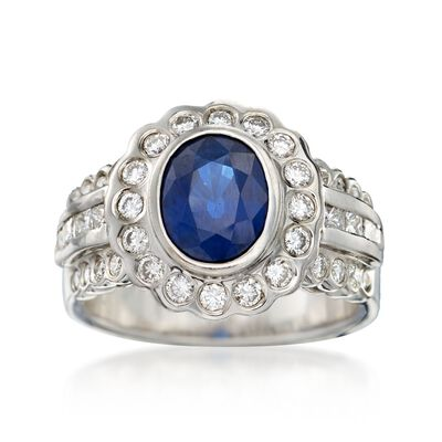 C. 1990 Vintage 2.35 Carat Sapphire and 1.10 ct. t.w. Diamond Ring in 14kt White Gold, , default