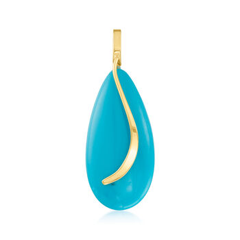 Turquoise Teardrop Pendant in 14kt Yellow Gold, , default