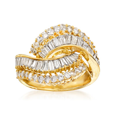 C. 1990 Vintage Mikimoto 1.90 ct. t.w. Round and Baguette Diamond Bypass Ring in 18kt Yellow Gold