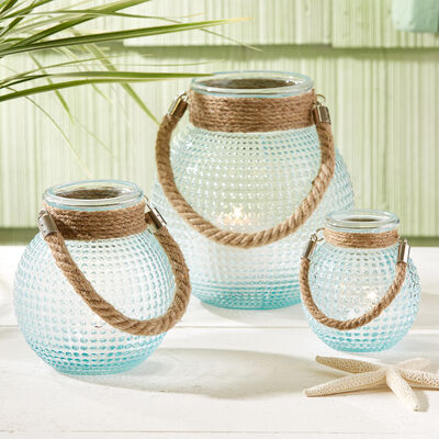 """Harborside"" Set of Three Hobnail Lanterns with Rope Handles in Blue, , default"