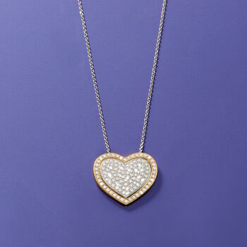 2.10 ct. t.w. Pave Diamond Heart Pendant Necklace in 14kt Two-Tone Gold