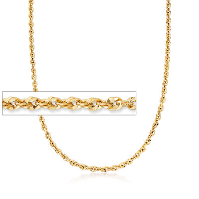 Italian 14kt Yellow Gold Rope-Link Chain Necklace, , default