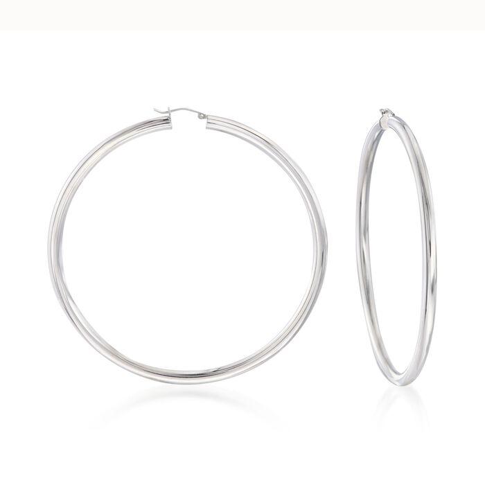 """4mm Sterling Silver Hoop Earrings. 3 1/4"""""""