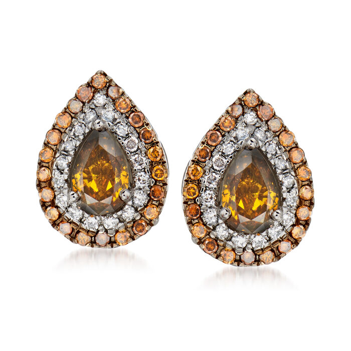 C. 1990 Vintage 1.30 ct. t.w. Cognac and White Diamond Earrings in 18kt White Gold