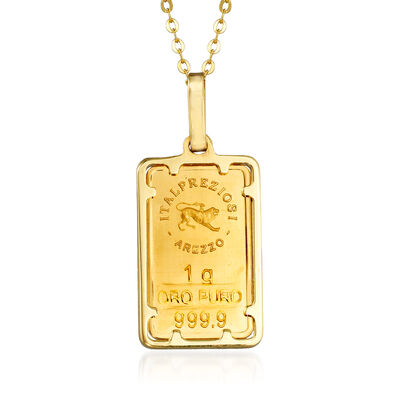 Italian 24kt Yellow Gold and 14kt Yellow Gold Ingot Bar Pendant Necklace
