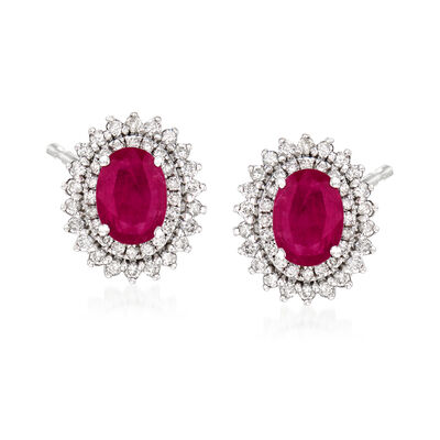 1.70 ct. t.w. Ruby and .60 ct. t.w. Diamond Earrings in 18kt White Gold, , default