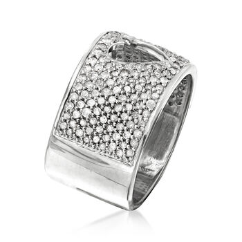 1.00 ct. t.w. Diamond Open-Space Heart Ring in Sterling Silver