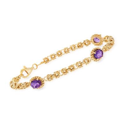 2.10 ct. t.w. Amethyst Byzantine Bracelet in 14kt Yellow Gold