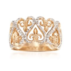 .25 ct. t.w. Diamond Heart and Fleur-De-Lis Ring in 18kt Gold Over Sterling, , default