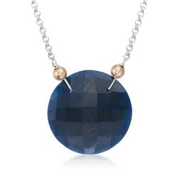 "20.00 Carat Sapphire Pendant Necklace in Two-Tone. 18"", , default"