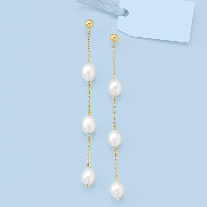 8x6mm Cultured Pearl Linear Drop Earrings in 14kt Yellow Gold