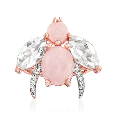 5.50 ct. t.w. Morganite and Rock Crystal Bug Ring with White Topaz Accents in 18kt Rose Gold Over Sterling, , default