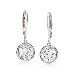 4.00 ct. t.w. Bezel-Set CZ Drop Earrings in Sterling Silver, , default