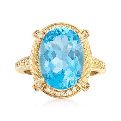 7.75 Carat Swiss Blue Topaz and .13 ct. t.w. Diamond Ring in 18kt Gold Over Sterling, , default