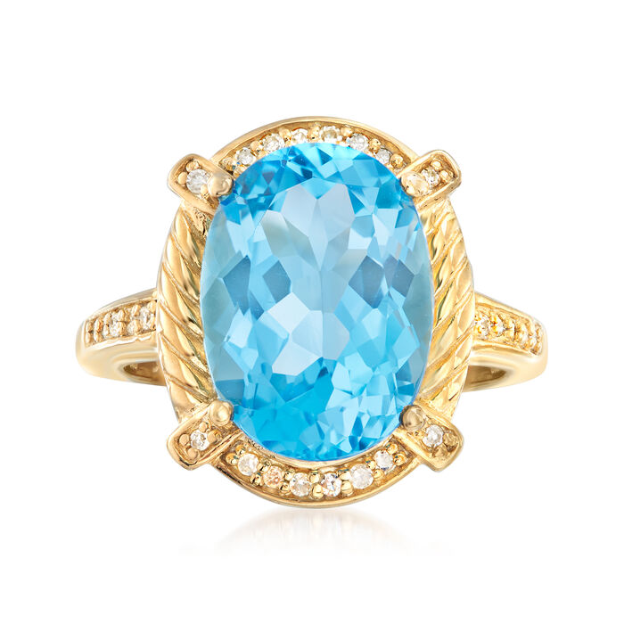 7.75 Carat Swiss Blue Topaz and .13 ct. t.w. Diamond Ring in 18kt Gold Over Sterling
