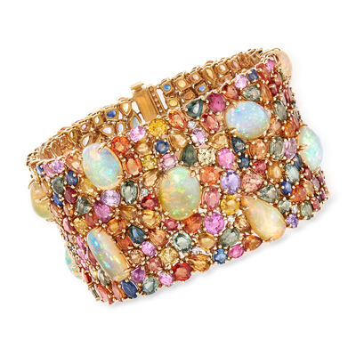 Opal and 100.00 ct. t.w. Multicolored Sapphire Bracelet with 1.30 ct. t.w. Diamonds in 18kt Yellow Gold