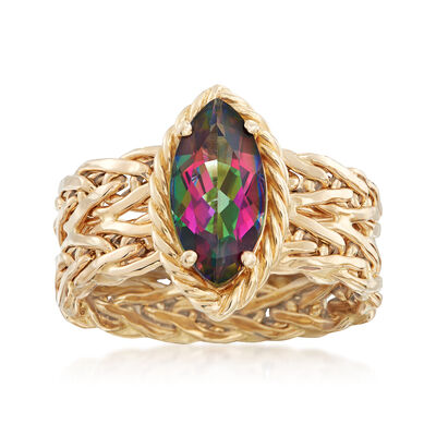 2.20 Carat Multicolored Topaz Ring in 14kt Yellow Gold, , default