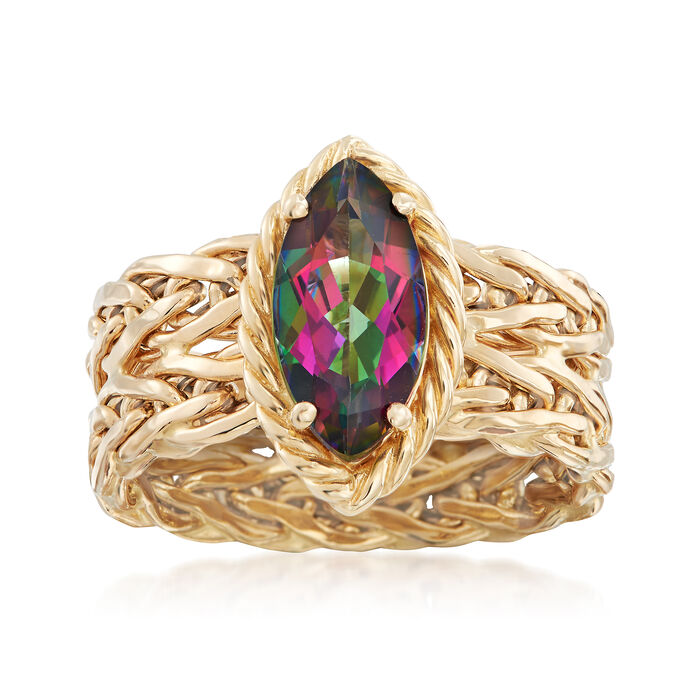 2.20 Carat Multicolored Topaz Ring in 14kt Yellow Gold. Size 7, , default