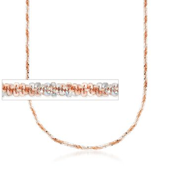 Italian 18kt Rose Gold Over Sterling Silver Crisscross Chain Necklace, , default