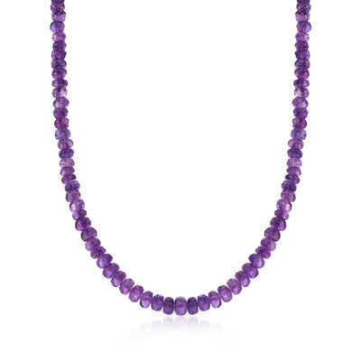 Amethyst Bead Necklace with Sterling Silver, , default