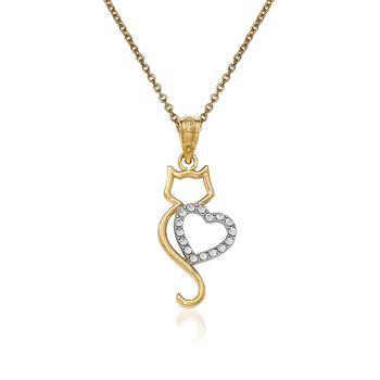 """14kt Two-Tone Gold Cat Pendant Necklace. 18"""", , default"""