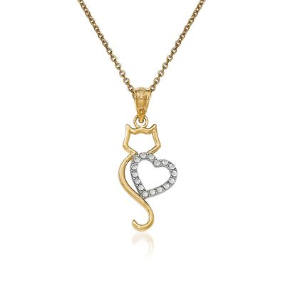 14kt Two-Tone Gold Cat Pendant Necklace, , default