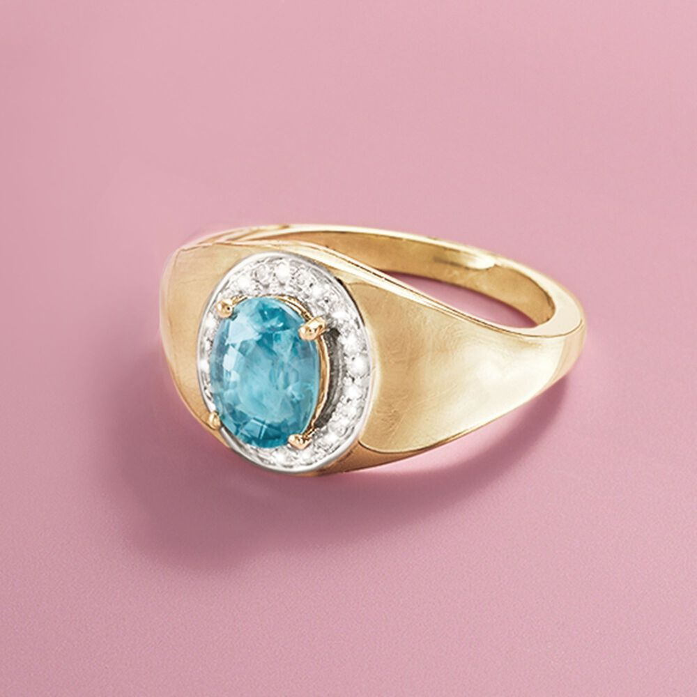 2.10 Carat Blue Zircon and .12 ct. t.w. Diamond Ring in 14kt Yellow ...
