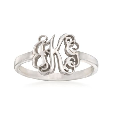 Sterling Silver Script Monogram Ring, , default
