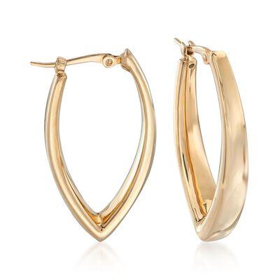 14kt Yellow Gold V-Shaped Hoop Earrings, , default