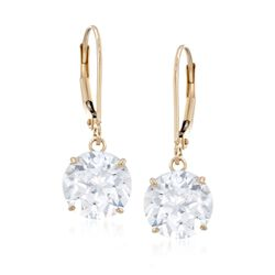 6.00 ct. t.w. CZ Drop Earrings in 14kt Yellow Gold, , default